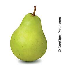 grön, päron, isolerat, vita, bakgrund., vektor