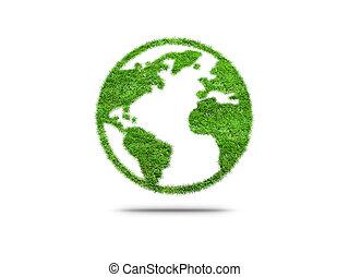 grön planet, earth., begrepp, av, ecology.