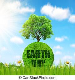 grön planet, med, träd, in, grass.