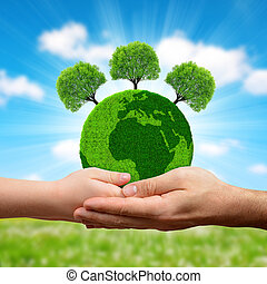 grön planet, med, träd, in, hands.