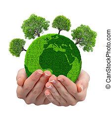 grön planet, med, träd, in, räcker
