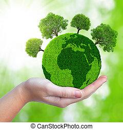 grön planet, med, träd
