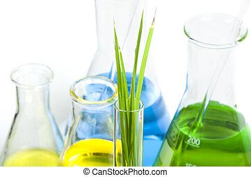 grön, planterar, in, laboratoriumutrustning