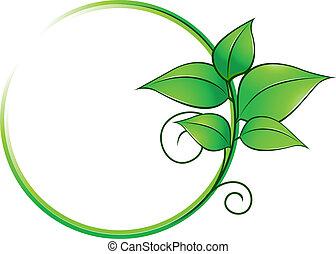 grön, ram, med, frisk, bladen