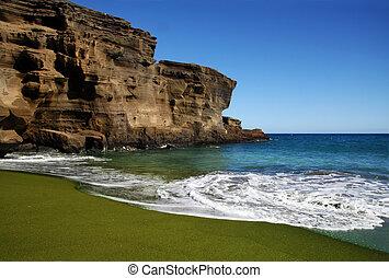 grön, sand strand