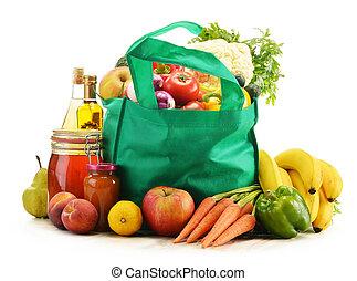 grön, shoppingväskan, med, specerier, produkter, vita,...