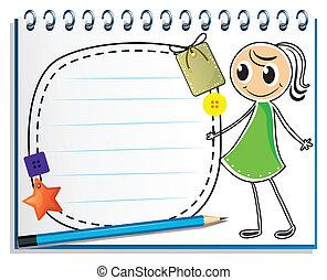 grön, skiss, anteckningsbok, klänning, flicka