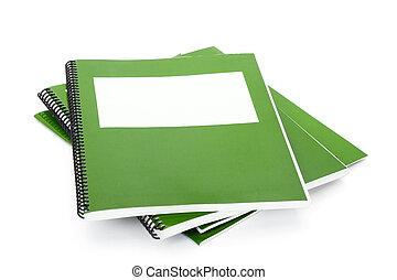 grön, skola, lärobok