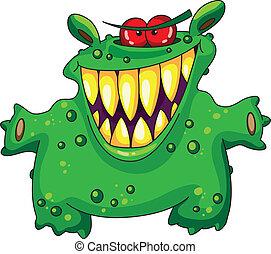 grön, skratta, monster