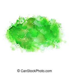 grön, skugga, vattenfärg, stains., blank färg, element, för, abstrakt, artistisk, bakgrund.