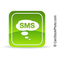 grön, sms, ikon