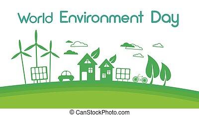 grön, stad, silhuett, slingra turbin, sol energi, panel,...