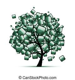 grön, sten, träd, din, design