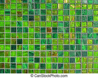 grön, tegelpanna