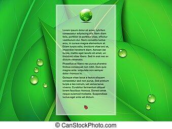 grön, text, blad, bakgrund, panel