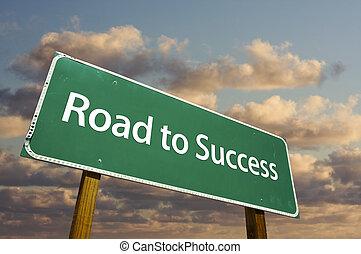 grön, väg, framgång, underteckna