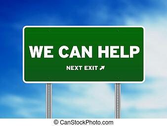 grön, vägmärke, -, vi, kan, hjälp