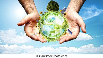 grön, värld, begrepp