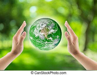 grön, värld, i handen, klot, i handen