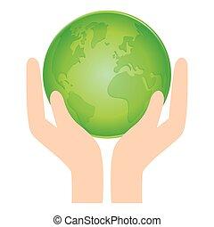 grön, värld, natur, conservancy, ikon