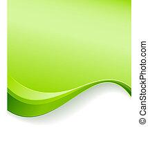 grön, våg, bakgrund, mall