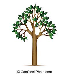 grön, vektor, träd, ikon