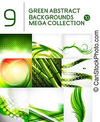 gröna abstrakta, sätta, bakgrunder, mega