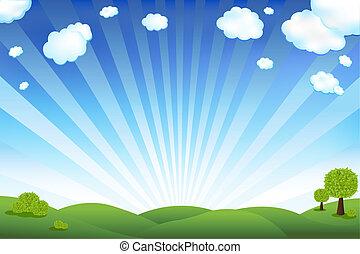 gröna gärde, och blåa, sky