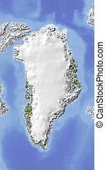 grönland, beschattet, map., erleichterung