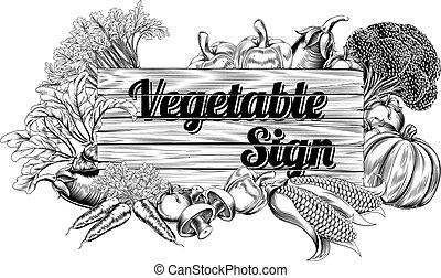 grönsak, årgång, producera, underteckna