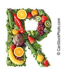 grönsak, alfabet, frukt