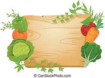 grönsak, bord, illustration, underteckna