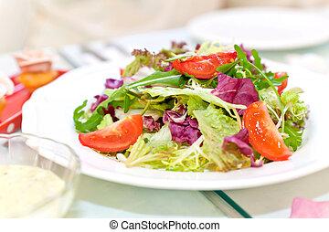 grönsak, frisk, sallad
