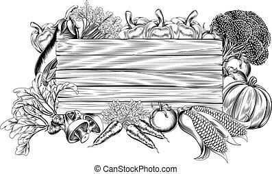 grönsak, frisk, trädgård, trä, underteckna