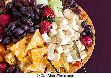 grönsak, och ost, tallrik