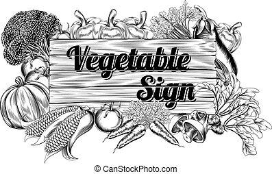 grönsak, producera, underteckna