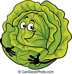 grönsak, söt, kål, tecknad film, illustration