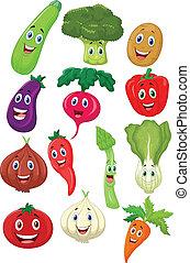 grönsak, söt, tecken, tecknad film