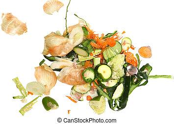 grönsak, skrotar, för, kompost