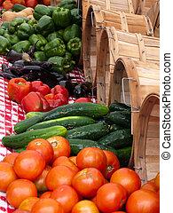 grönsak, sommar, producera, frilufts salutorg