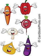 grönsak, tecknad film, tecken