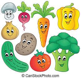 grönsak, tema, kollektion, 4