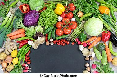 grönsaken, avskrift, färgrik, utrymme
