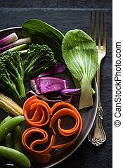 grönsaken, från, lokal, bönder marknadsför