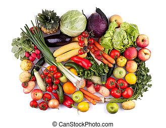 grönsaken, frukter, topp, synhåll