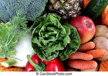 grönsaken, inrama mycket, frukter