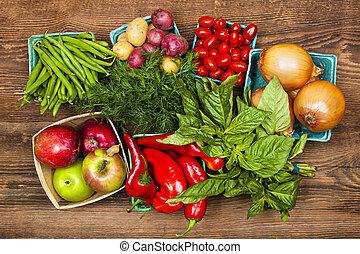grönsaken, marknaden, frukter