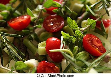 grönsaken, med, örtar