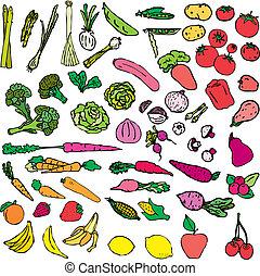 grönsaken, och, frukt