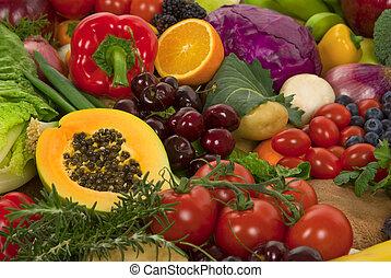 grönsaken, och, frukter